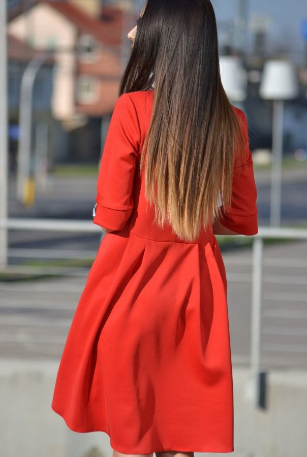Sukienki 181-CZERWONY