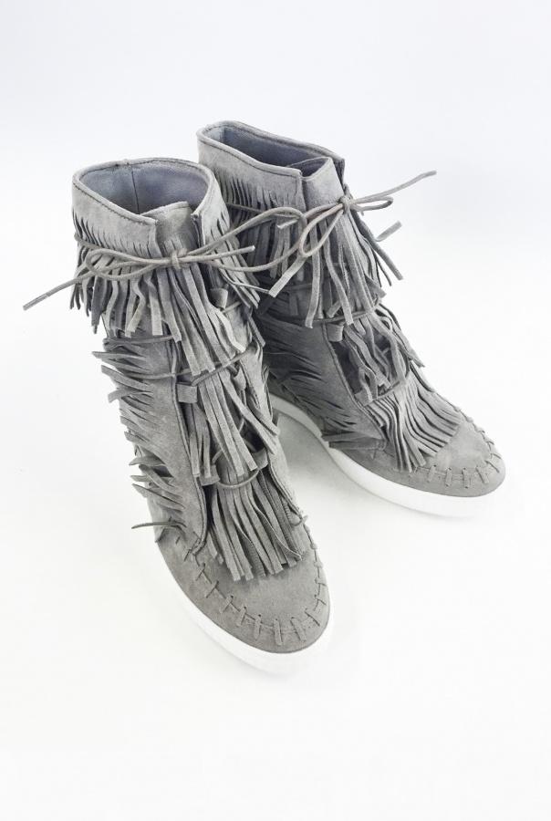 Sneakersy z frędzlami 1068/5-SZARY