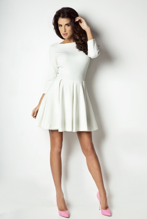Sukienka rozkloszowana 172-ECRU