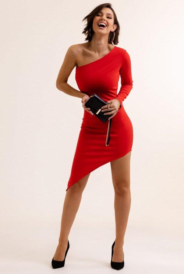 Sukienki 289-CZERWONY