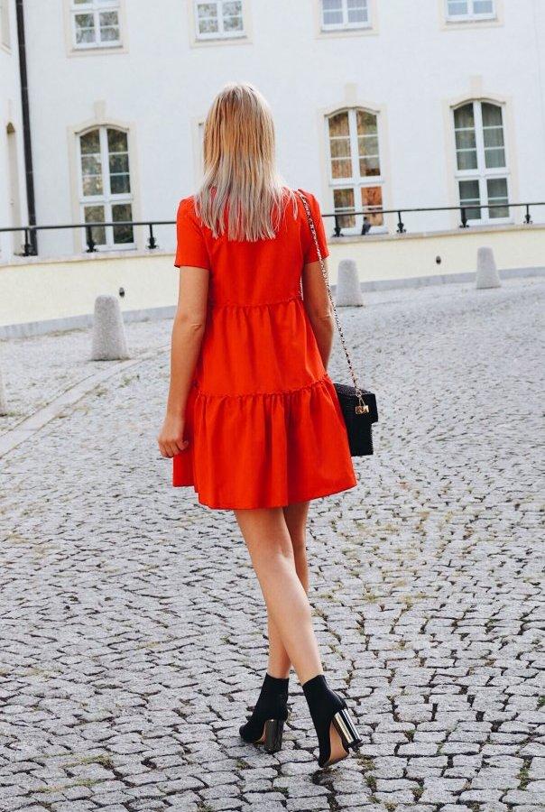 Sukienki 214-CZERWONY