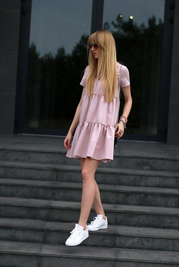 Sukienki 214-PUDROWY