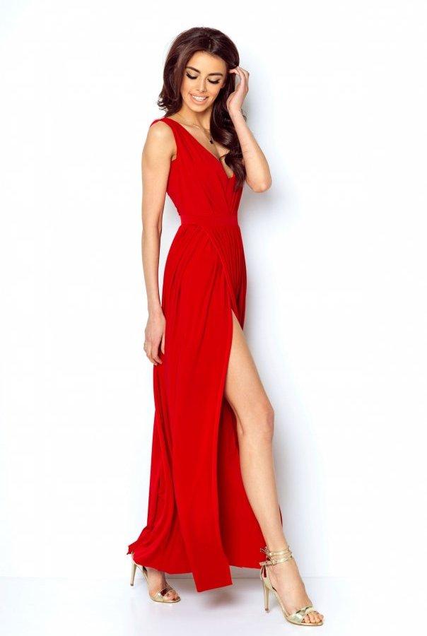Sukienki 218-CZERWONY