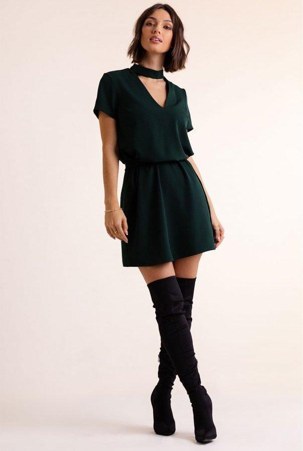Sukienka Francesca z chokerem 292-ZIELONA