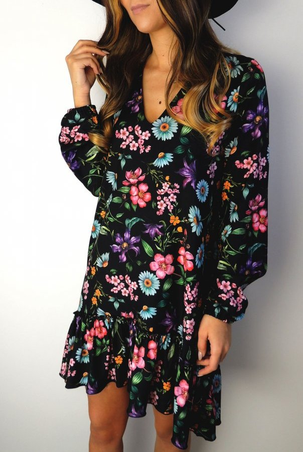 Sukienka Salma w kwiaty 293-KWIATKI