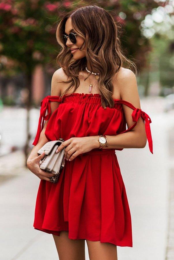 Sukienki 299-CZERWONY