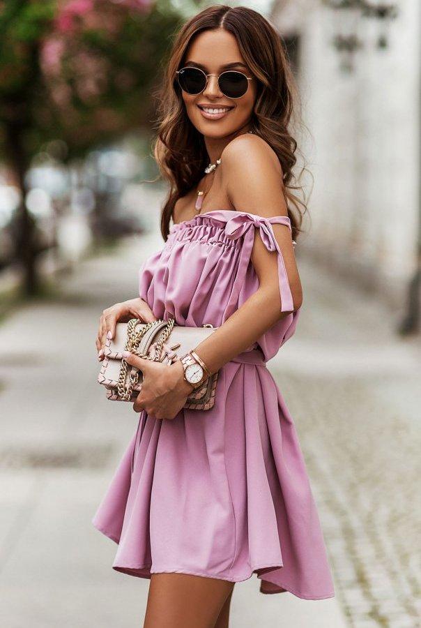 Sukienka ANDI z wiązaniami na ramionach 299-RÓŻ