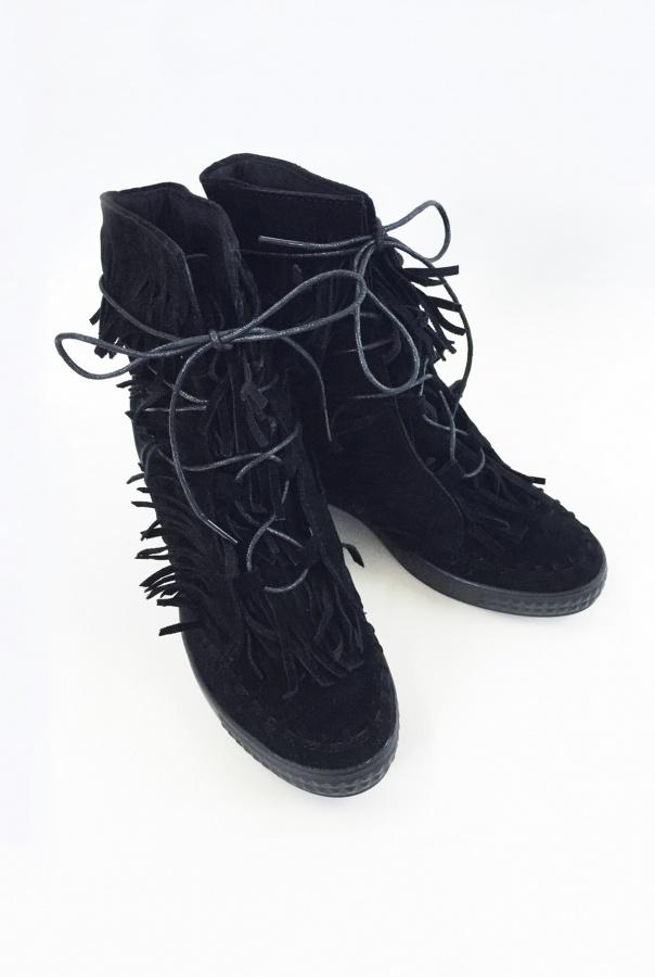 Sneakersy z frędzlami 1068/1-CZARNY