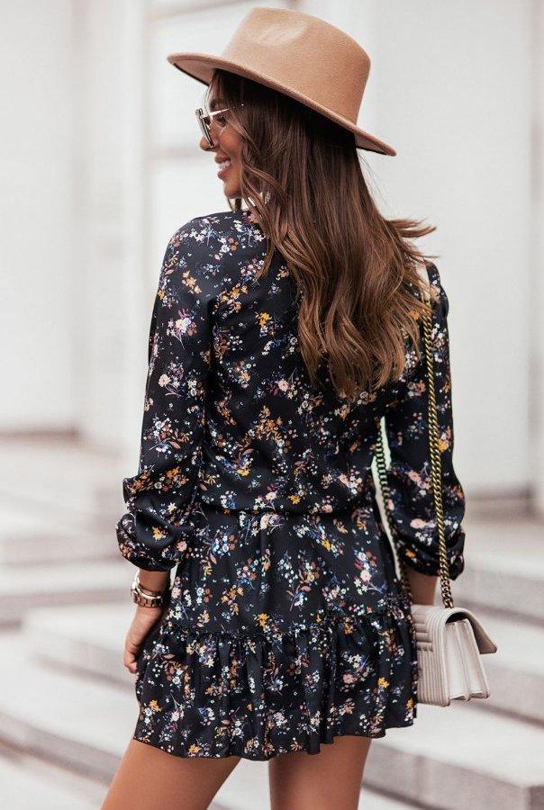 Sukienka w kwiaty RENEE 312-KWIATY.CZARNY