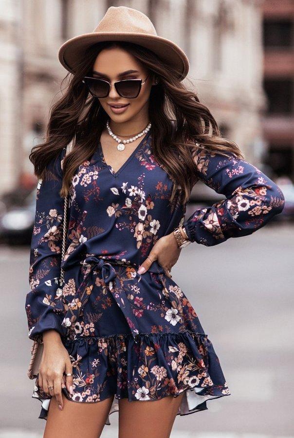 Sukienka w kwiaty RENEE 312-KWIATY.GRANAT