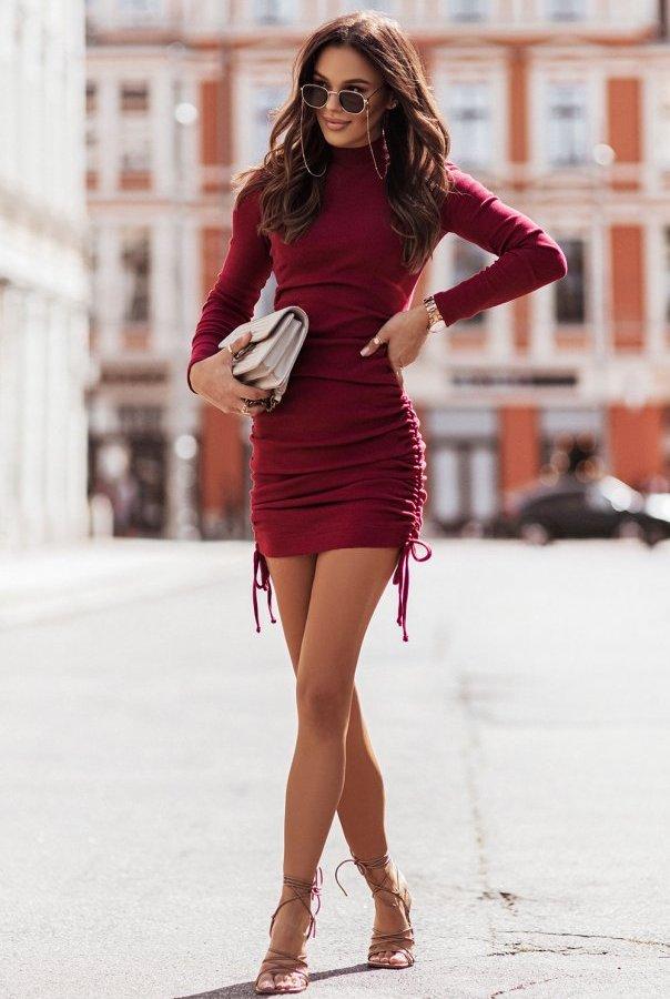 Sukienka NASTIA 314-BORDO