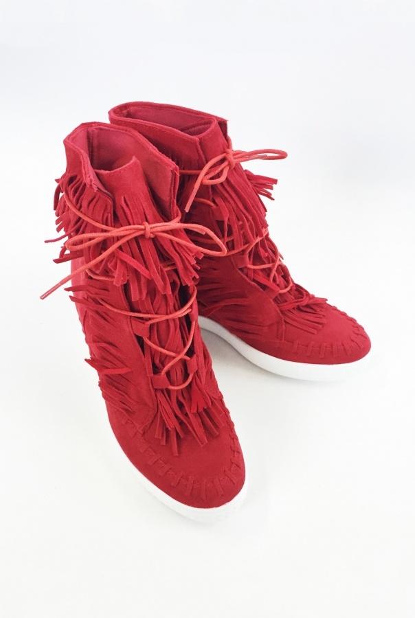 Sneakersy z frędzlami 1068/19-CZERWONY