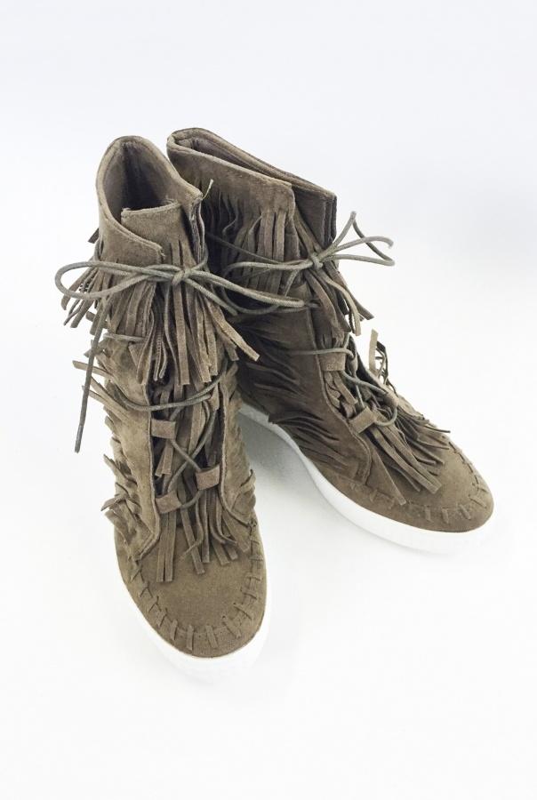 Sneakersy z frędzlami 1068/30-KHAKI