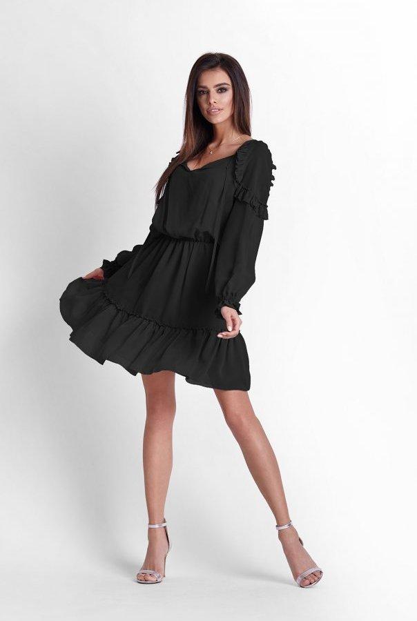 Sukienki 245-CZARNY