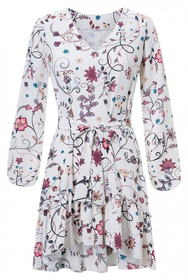 Sukienki 282-BIAŁY