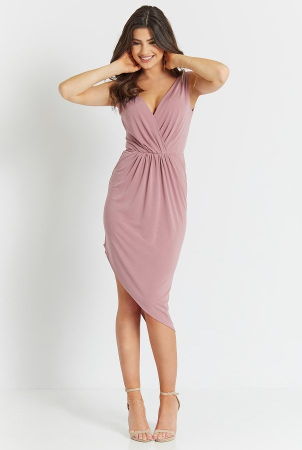 Sukienki 283-BRUDNY.RÓŻ