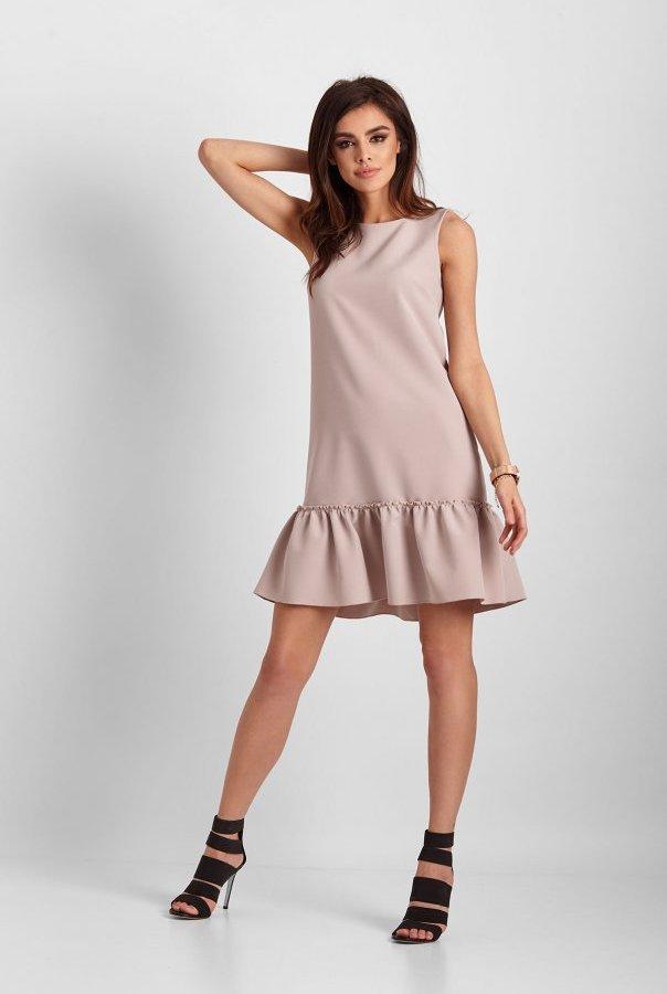 Elegancka sukienka Lorena bez rękawów 263-BEŻOWY