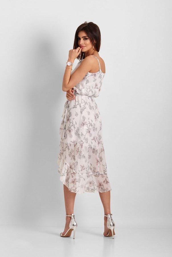 Szyfonowa asymetryczna sukienka Chantal 266-BIAŁY.KWIATY