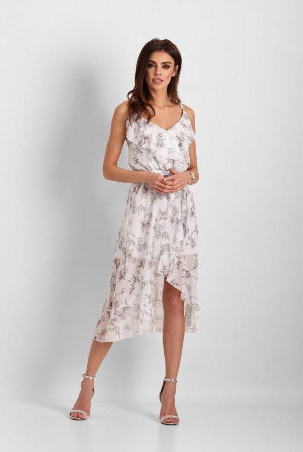 Sukienki 266-BIAŁY.KWIATY