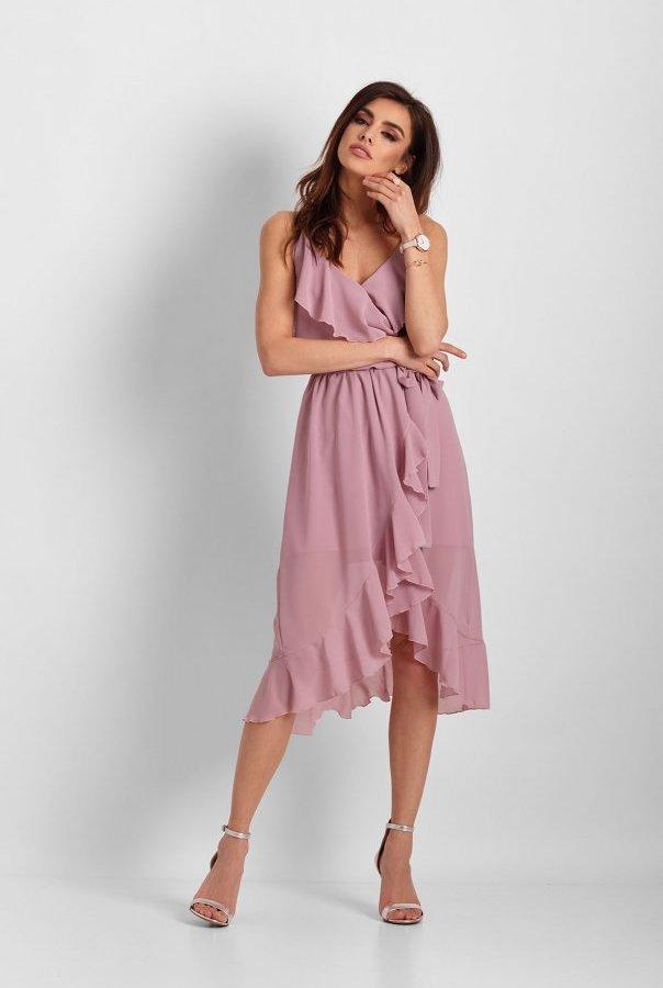 Szyfonowa asymetryczna sukienka Chantal 266-RÓŻ