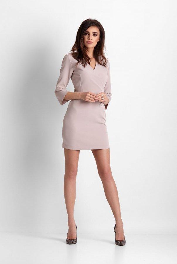 Sukienki 259-BEŻOWY