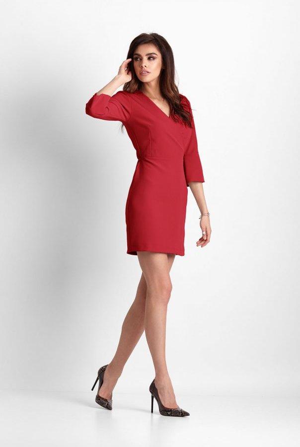 Sukienki 259-CZERWONY