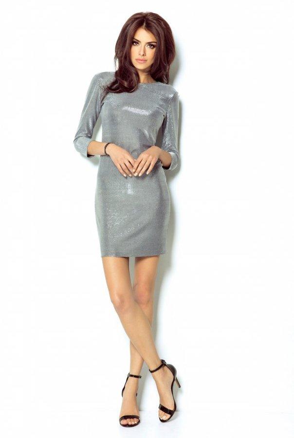 Sukienki 208-SREBRNY