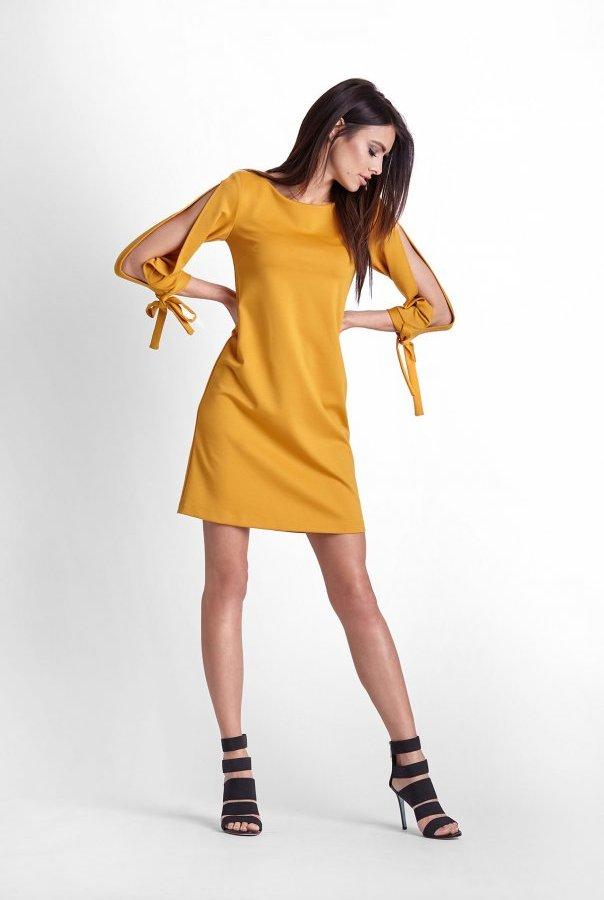 Sukienki 246-MUSZTARDA