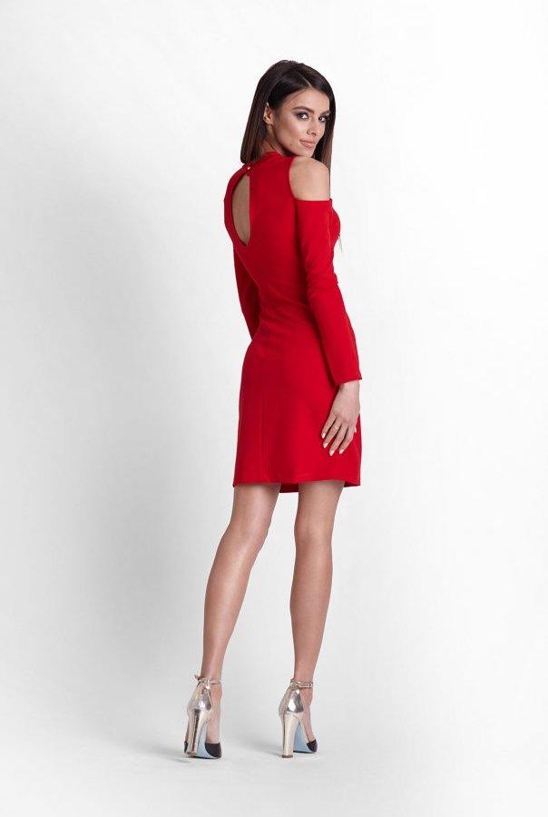 Sukienki 243-CZERWONY