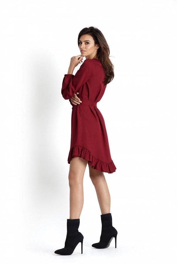 Sukienki 224-BORDOWY