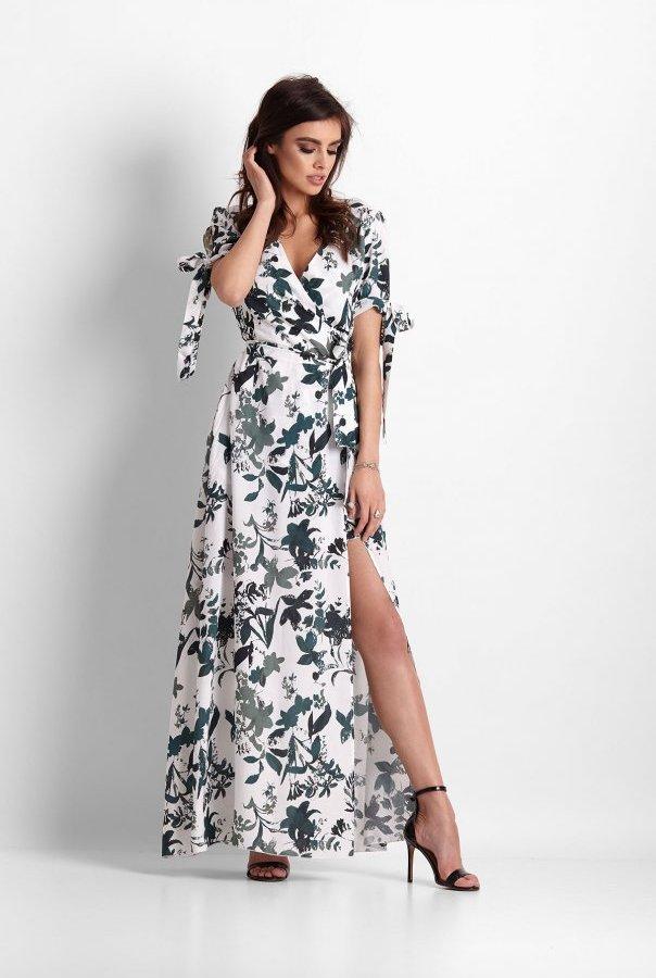 Sukienki 258-BIAŁY