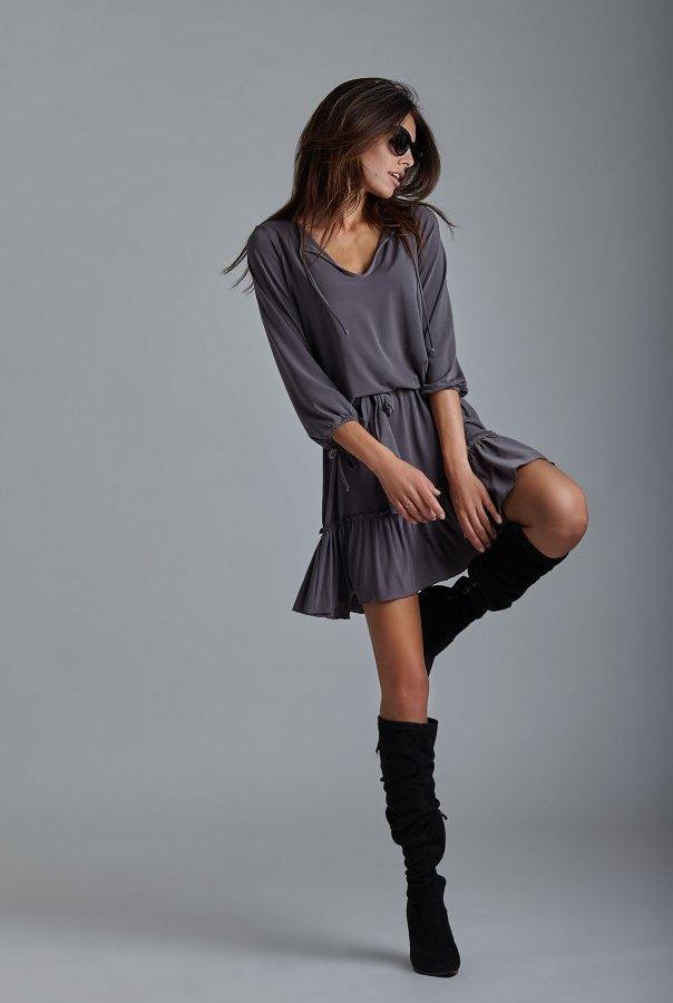 Sukienki 221-GRAFITOWY