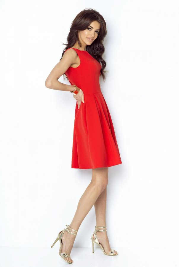 Sukienki 215-CZERWONY