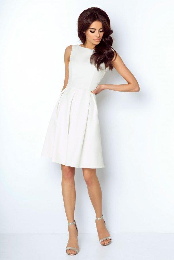 Sukienki 215-ŚMIETANKOWY