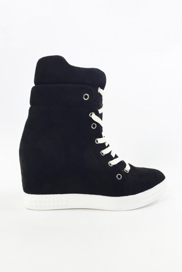 Wiązane Sneakersy 1125/1-CZARNY