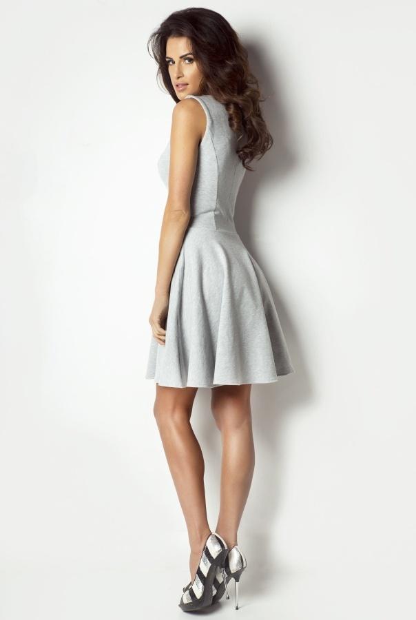 Sukienka rozkloszowana 183-SZARY