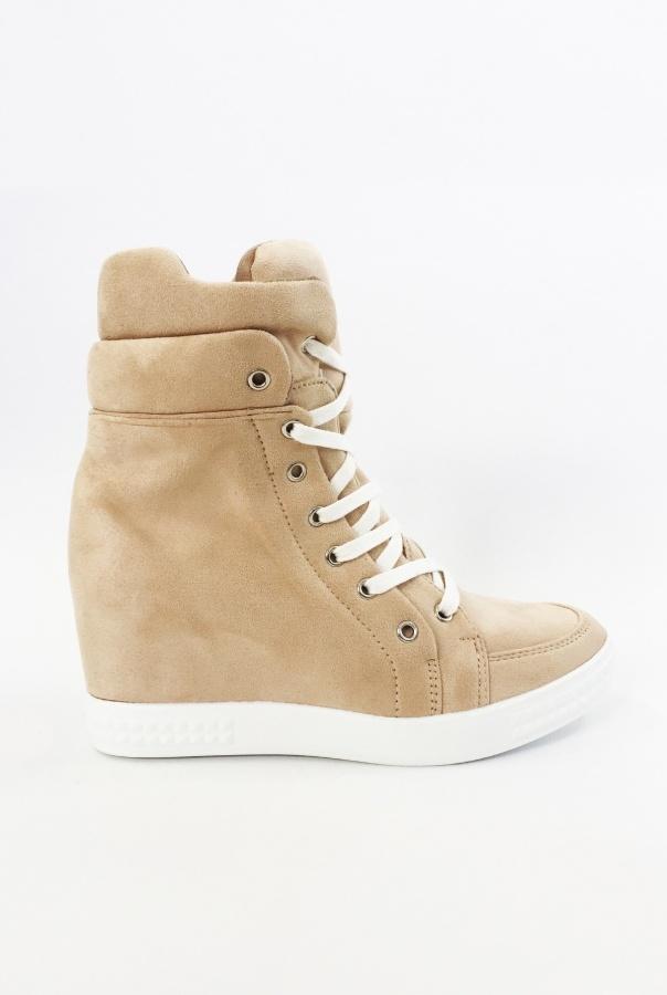 Wiązane Sneakersy 1125/14-BEŻOWY