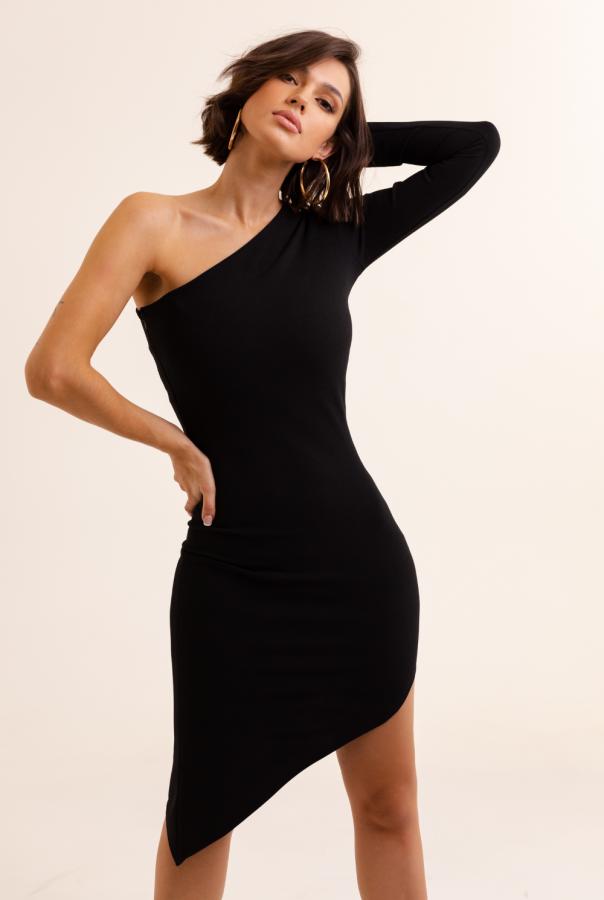 Dopasowana sukienka Serena 289-CZARNY