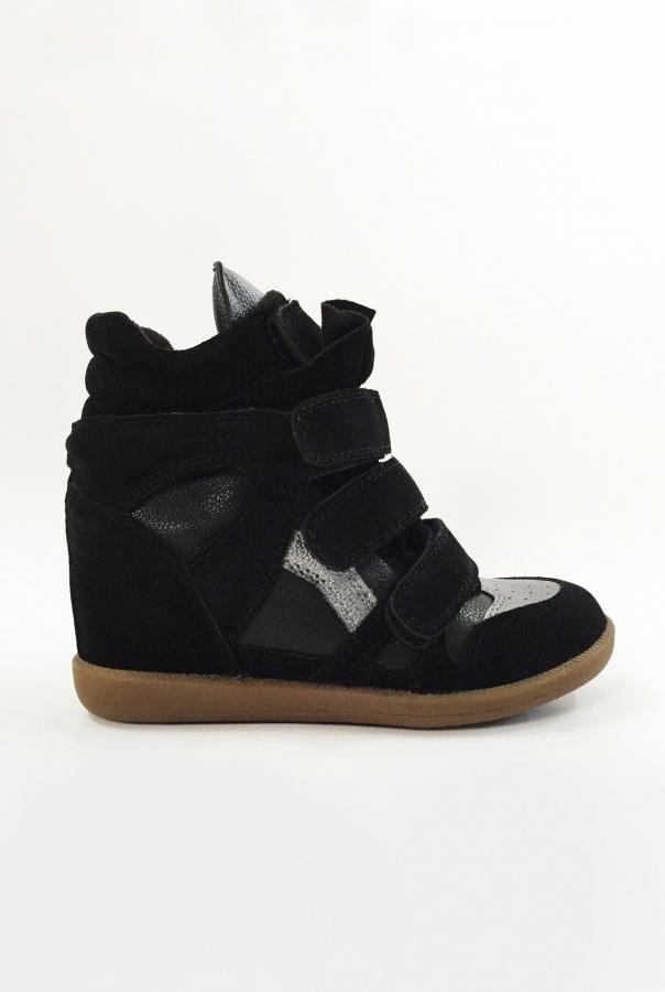 Sneakersy na Rzepy 6040/1-CZARNY