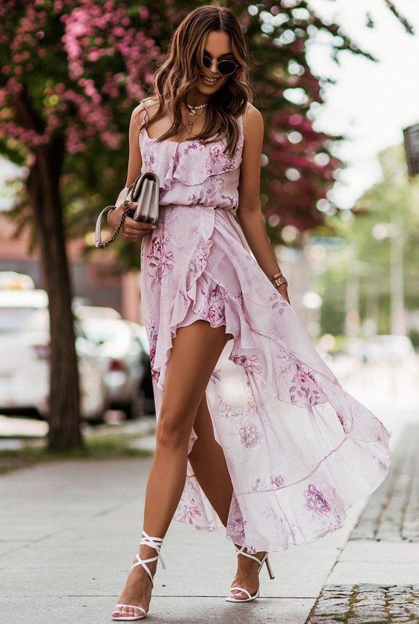 Zwiewna sukienka AMIS 307-KWIATY
