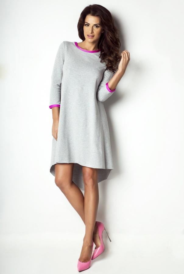 Sukienka asymetryczna D1-RÓŻOWY
