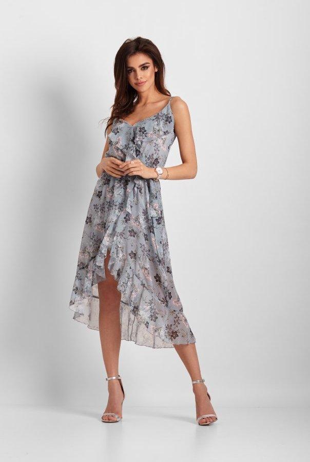61ce2146d9 Szyfonowa asymetryczna sukienka Chantal 266-NIEBIESKI KWIATY ...