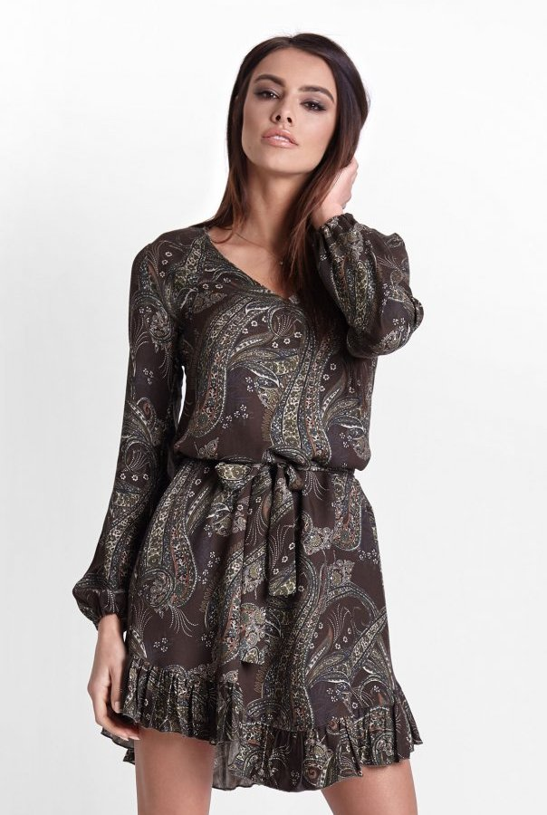 Sukienki 224-KHAKI.WZÓR