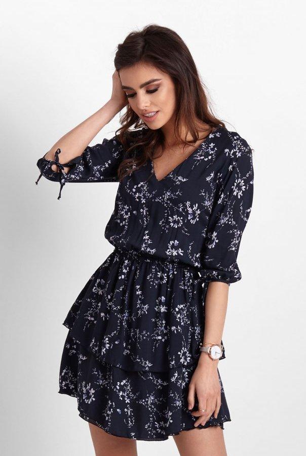 Sukienki 257-GRANATOWY